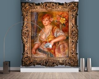 Blonde woman with a rose, c.1915-17 (oil on canvas) mural wallpaper
