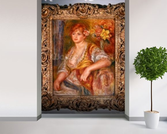 Blonde woman with a rose, c.1915-17 (oil on canvas) mural wallpaper room setting