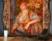 Blonde woman with a rose, c.1915-17 (oil on canvas) mural wallpaper kitchen preview