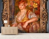 Blonde woman with a rose, c.1915-17 (oil on canvas) mural wallpaper living room preview