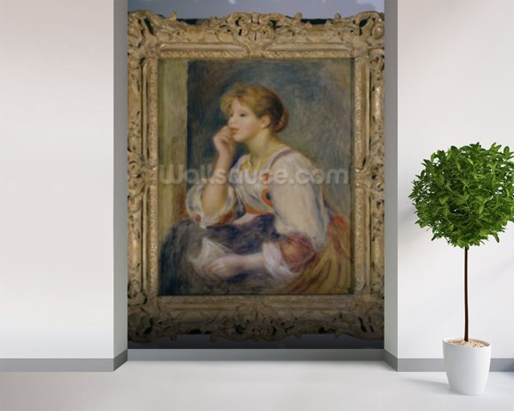 Woman with a letter, c.1890 (oil on canvas) mural wallpaper room setting