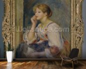 Woman with a letter, c.1890 (oil on canvas) mural wallpaper kitchen preview