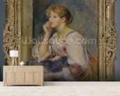 Woman with a letter, c.1890 (oil on canvas) mural wallpaper living room preview