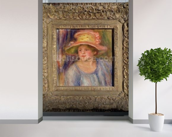 Woman with a hat, c.1915-19 ? (oil on canvas) wall mural room setting