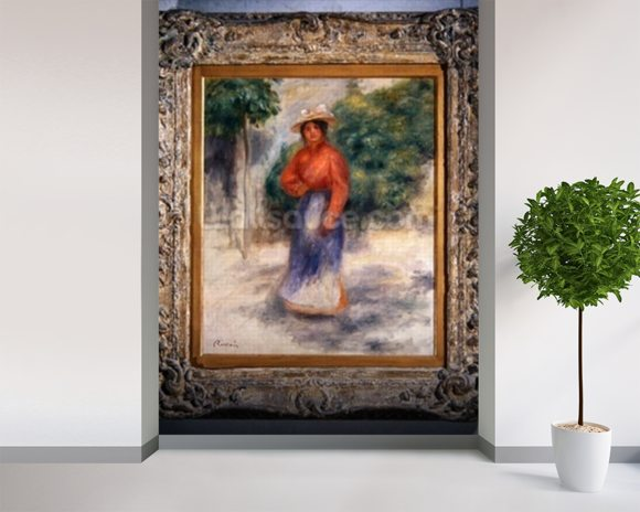 Gabrielle in the garden, c.1905 ? (oil on canvas) wallpaper mural room setting
