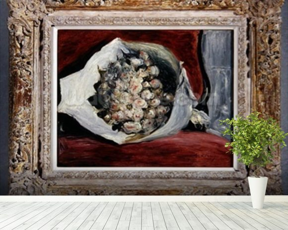 Bouquet in a theatre box, c.1878-80 (oil on canvas) mural wallpaper room setting