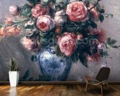 Vase of Roses (oil on canvas) mural wallpaper kitchen preview