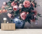 Vase of Roses (oil on canvas) mural wallpaper living room preview