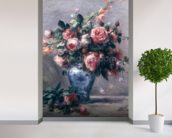 Vase of Roses (oil on canvas) mural wallpaper in-room view