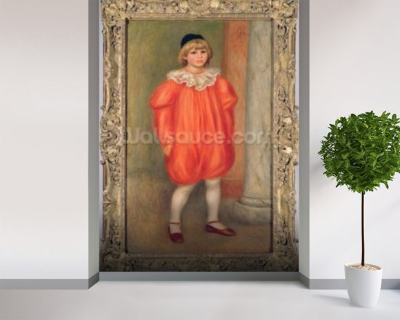 Claude Renoir in a clown costume, 1909 (oil on canvas) wall mural room setting