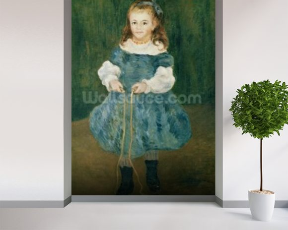 Girl with a skipping rope, 1876 (oil on canvas) wall mural room setting