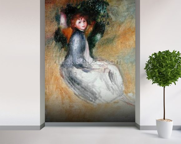 Young Girl Seated, 1885 (oil on canvas) mural wallpaper room setting