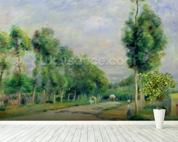 The Road to Versailles at Louveciennes (oil on canvas) wall mural room setting