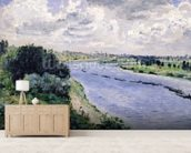 Barges on the Seine, c.1869 (oil on canvas) wallpaper mural living room preview
