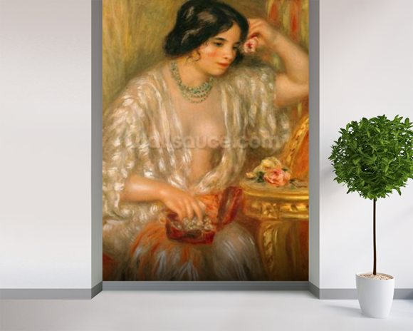 Gabrielle with Jewellery, 1910 (oil on canvas) wallpaper mural room setting