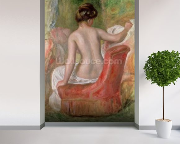 Nude in an Armchair, 1900 (oil on canvas) wallpaper mural room setting