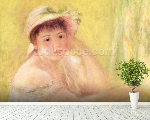 Woman in a Straw Hat, 1879 (oil on canvas) wall mural room setting