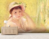 Woman in a Straw Hat, 1879 (oil on canvas) wall mural living room preview