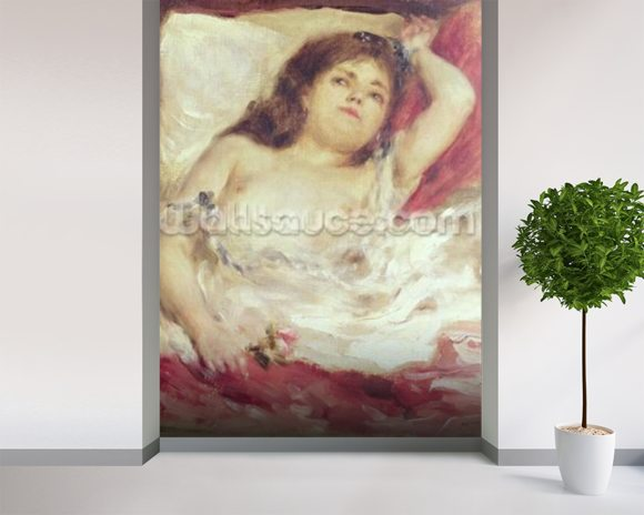 Semi-Nude Woman in Bed: The Rose, before 1872 (oil on canvas) wallpaper mural room setting