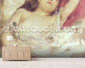 Semi-Nude Woman in Bed: The Rose, before 1872 (oil on canvas) wallpaper mural living room preview