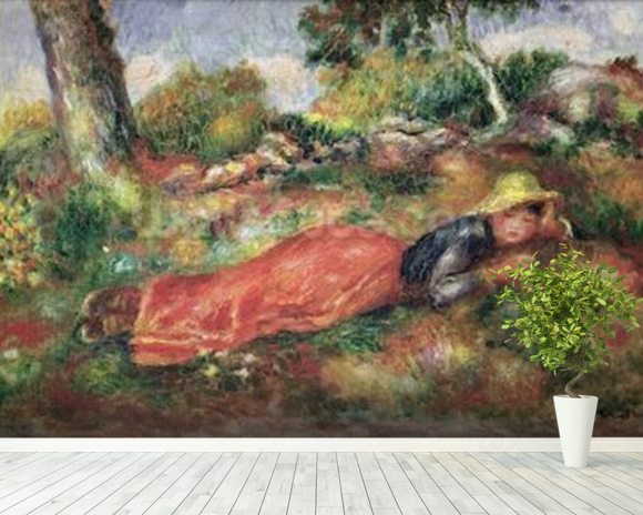 Young Girl Sleeping on the Grass (oil on canvas) wallpaper mural room setting
