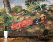 Young Girl Sleeping on the Grass (oil on canvas) wallpaper mural kitchen preview