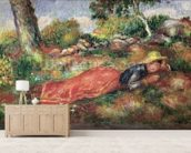 Young Girl Sleeping on the Grass (oil on canvas) wallpaper mural living room preview