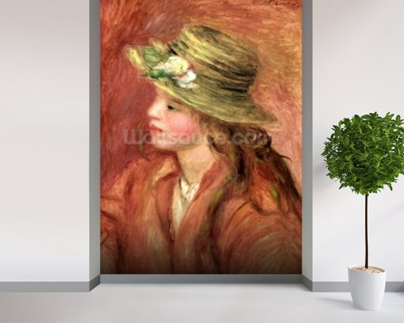 Young Girl in a Straw Hat, c.1908 (oil on canvas) wall mural room setting