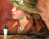 Young Girl in a Straw Hat, c.1908 (oil on canvas) wall mural kitchen preview