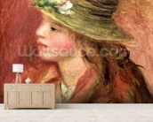 Young Girl in a Straw Hat, c.1908 (oil on canvas) wall mural living room preview