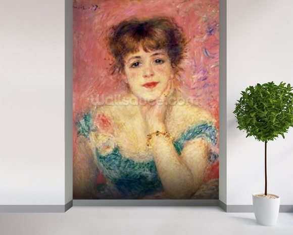 Portrait of the actress Jeanne Samary, 1877 (study) wallpaper mural room setting