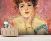 Portrait of the actress Jeanne Samary, 1877 (study) wallpaper mural living room preview