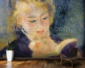 Girl Reading, 1874 (oil on canvas) mural wallpaper kitchen preview