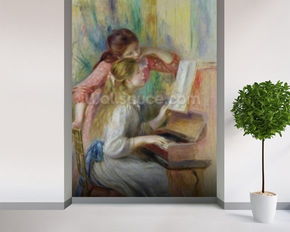 Young Girls at the Piano, c.1890 (oil on canvas) wall mural room setting