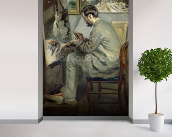 Frederic Bazille at his Easel, 1867 (oil on canvas) wallpaper mural room setting