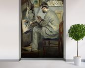 Frederic Bazille at his Easel, 1867 (oil on canvas) wallpaper mural in-room view