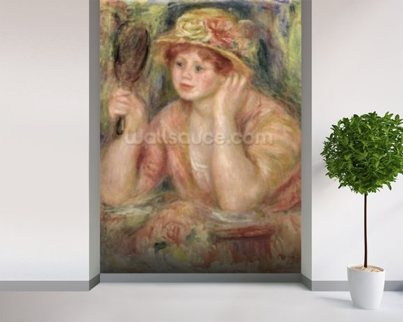 Woman with a Mirror, c.1915 (oil on canvas) mural wallpaper room setting