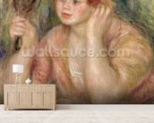 Woman with a Mirror, c.1915 (oil on canvas) mural wallpaper living room preview