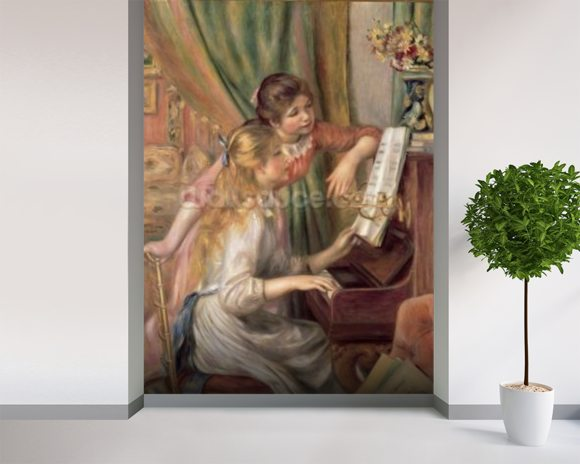 Young Girls at the Piano, 1892 (oil on canvas) mural wallpaper room setting
