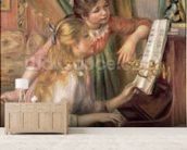 Young Girls at the Piano, 1892 (oil on canvas) mural wallpaper living room preview