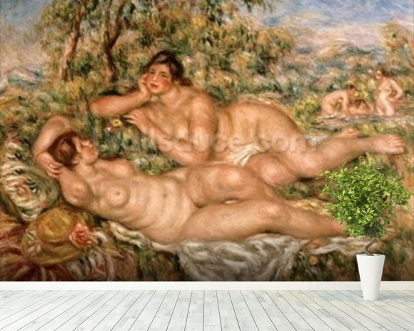 The Bathers, c.1918-19 (oil on canvas) wallpaper mural room setting