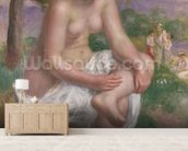 Seated Bather in a Landscape or, Eurydice, 1895-1900 (oil on canvas) mural wallpaper living room preview