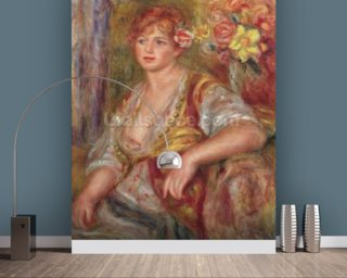 Blonde Woman with a Rose, c.1915 (oil on canvas) wallpaper mural