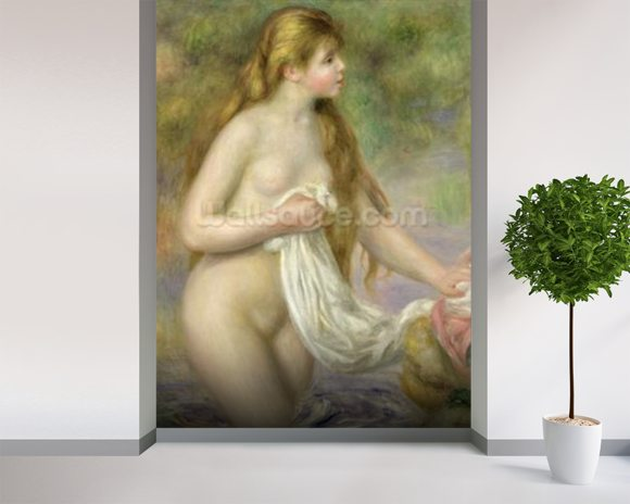 Bather with long hair, c.1895 (oil on canvas) mural wallpaper room setting