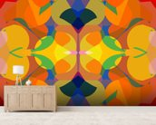 Funky mural wallpaper living room preview