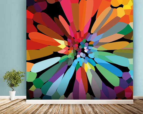 Flower wall mural room setting
