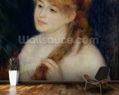 Young Woman Braiding her Hair, 1876 (oil on canvas) wallpaper mural kitchen preview