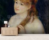 Young Woman Braiding her Hair, 1876 (oil on canvas) wallpaper mural living room preview
