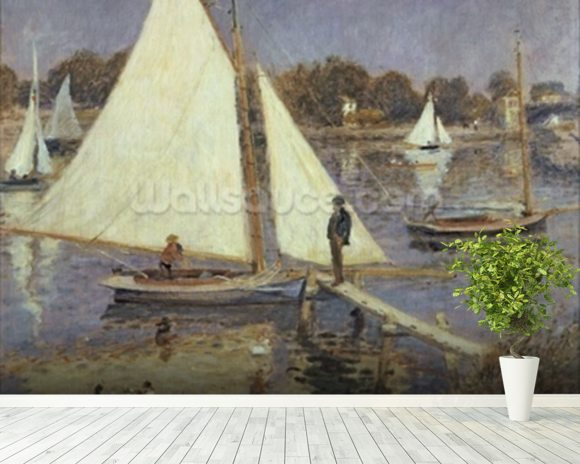 The Seine at Argenteuil, 1874 (oil on canvas) mural wallpaper room setting