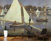 The Seine at Argenteuil, 1874 (oil on canvas) mural wallpaper kitchen preview